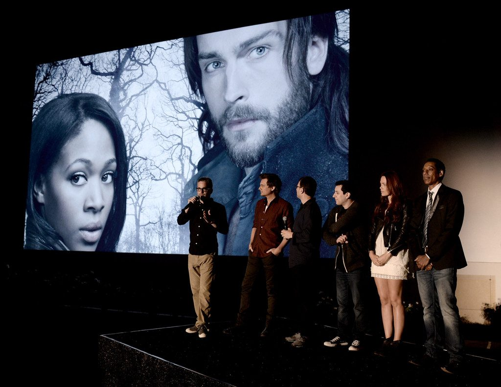 Iscove (third from right), producers, and cast at a 'Sleepy Hollow' screening at Hollywood Forever Cemetery