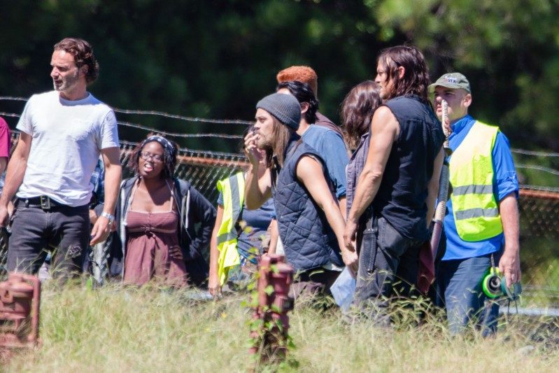 *EXCLUSIVE* The Zombie hunters from 'The Walking Dead' get to work with a new cast member!