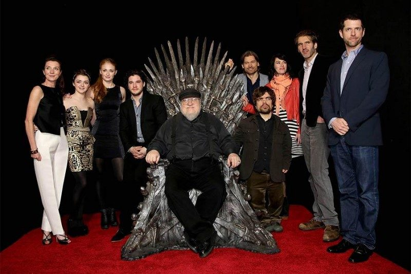 George R.R. Martin sits on a throne of power