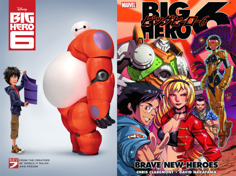 The movie version of 'Big Hero 6' and the Marvel comic it was based on